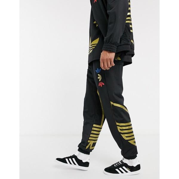 アディダスオリジナルス メンズ カジュアルパンツ ボトムス adidas Originals sweatpants with metallic blown up logo Bk1 - black 1