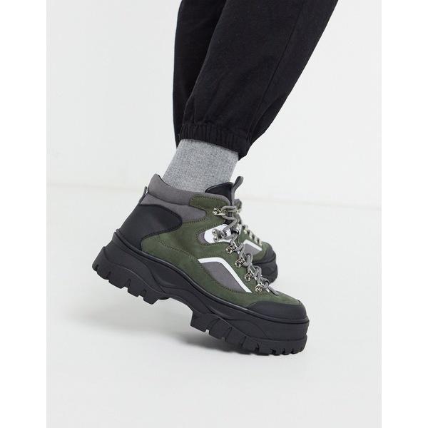 エイソス メンズ ブーツ&レインブーツ シューズ ASOS DESIGN lace up hiker boots in khaki faux suede on chunky sole Khaki
