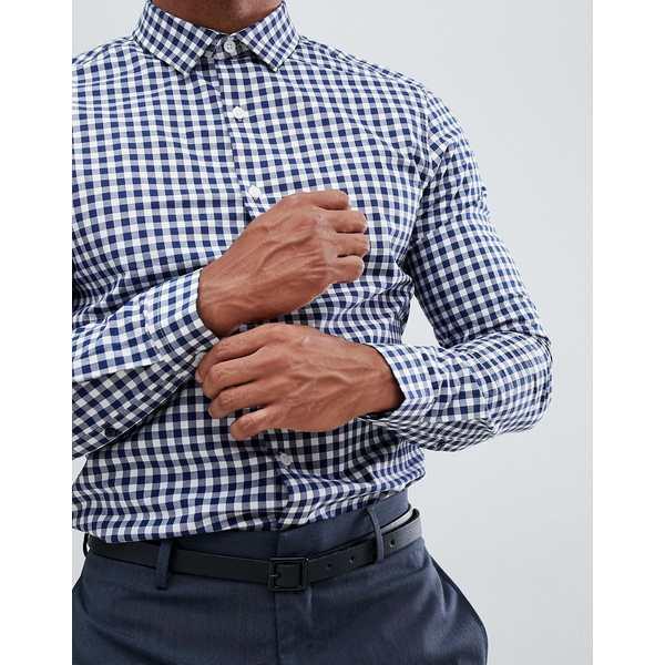 エイソス メンズ シャツ トップス ASOS DESIGN slim smart check shirt Blue