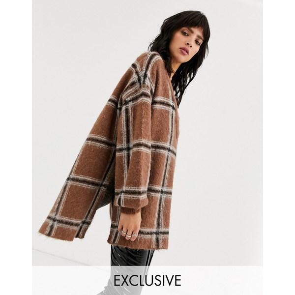 オブジェクト レディース ニット&セーター アウター Object oversized v neck sweater in check Multi