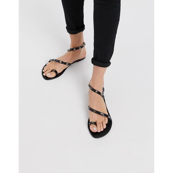 エイソス レディース サンダル シューズ ASOS DESIGN Flaunt studded jelly flat sandals in black Black