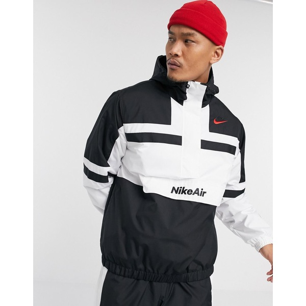 ナイキ メンズ ジャケット&ブルゾン アウター Nike Air half-zip overhead woven jacket in white/black White/black