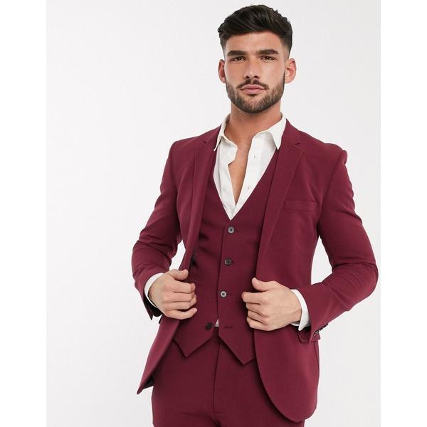 エイソス メンズ ジャケット&ブルゾン アウター ASOS DESIGN super skinny suit jacket in burgundy in four way stretch Burgundy