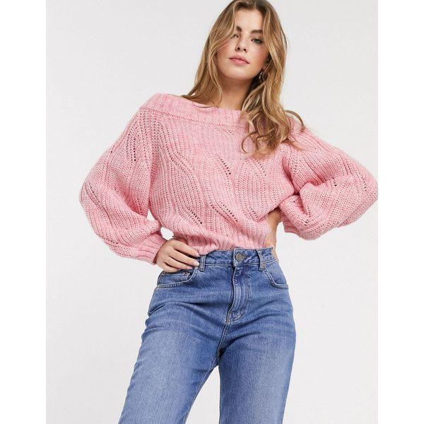 エイソス レディース ニット&セーター アウター ASOS DESIGN stitch detail chunky bardot sweater in recycled blend Pink