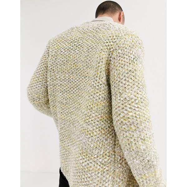 エイソス メンズ カーディガン アウター ASOS DESIGN heavyweight cardigan in textured oatmeal slub yarn Gray