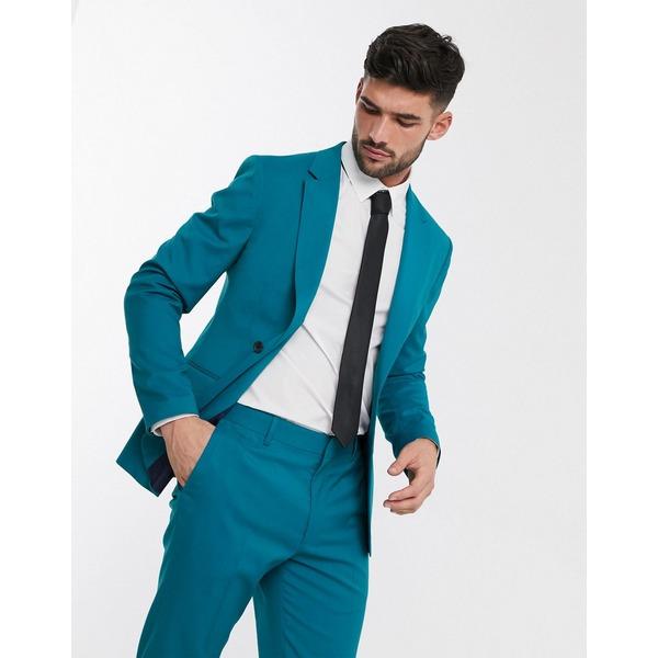 エイソス メンズ ジャケット&ブルゾン アウター ASOS DESIGN skinny suit jacket in teal Teal