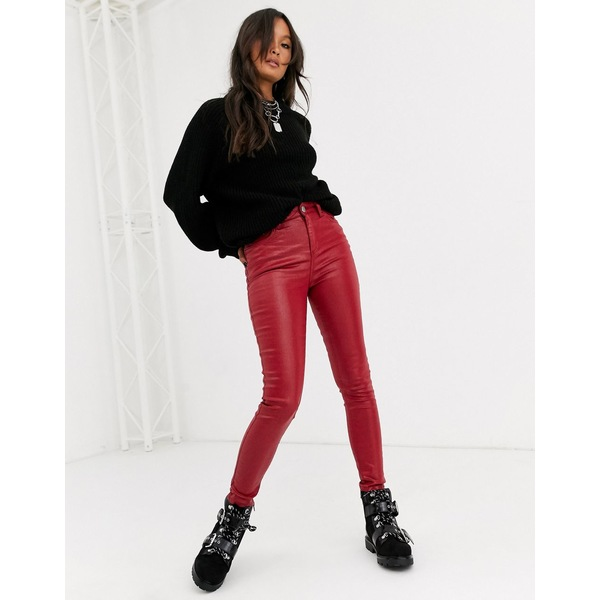 エイソス レディース デニムパンツ ボトムス ASOS DESIGN Ridley high waist skinny jeans in red coated Red