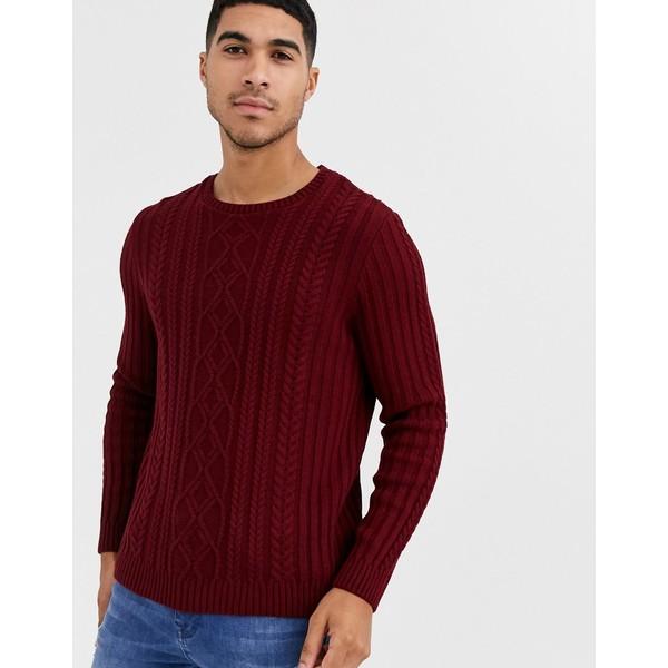 エイソス メンズ ニット&セーター アウター ASOS DESIGN knitted cable knit sweater in burgundy Burgundy