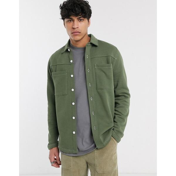 エイソス メンズ ジャケット&ブルゾン アウター ASOS DESIGN jersey shacket in khaki Four leaf clover