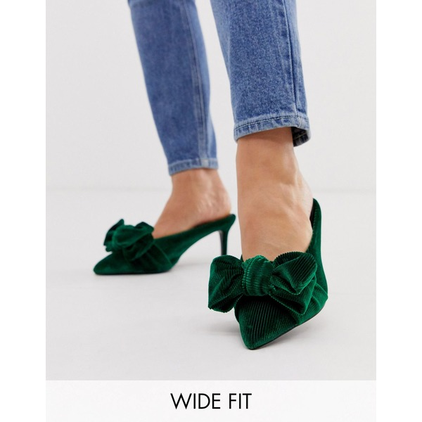 エイソス レディース サンダル シューズ ASOS DESIGN Wide Fit Wonder pointed mid-heeled bow mules in forest green velvet Forest green