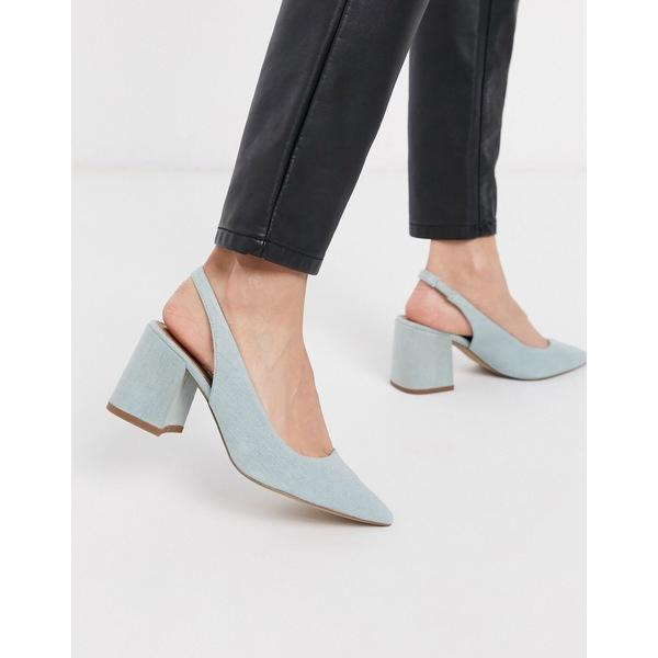エイソス レディース ヒール シューズ ASOS DESIGN Samson slingback mid heels in denim Washed denim