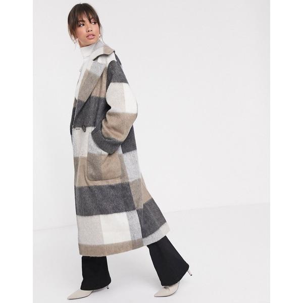 エイソス レディース コート アウター ASOS DESIGN oversized brushed maxi coat in check Multi