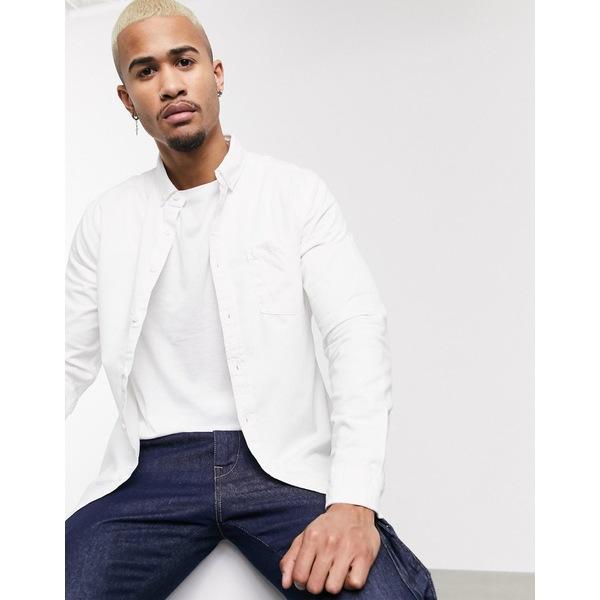 エイソス メンズ シャツ トップス ASOS DESIGN stretch slim denim shirt in white White