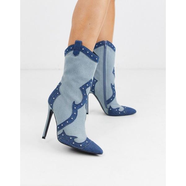 エイソス レディース ブーツ&レインブーツ シューズ ASOS DESIGN Entrance western heeled boots in denim Denim
