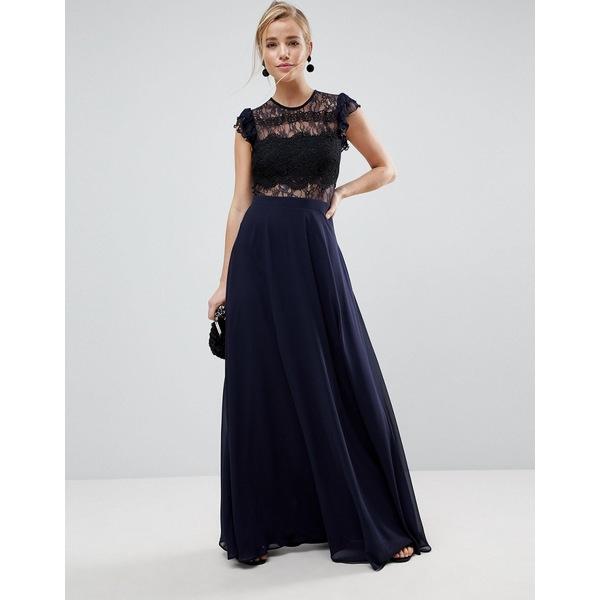 エイソス レディース ワンピース トップス ASOS Lace Maxi Dress with Lace Frill Sleeve Navy