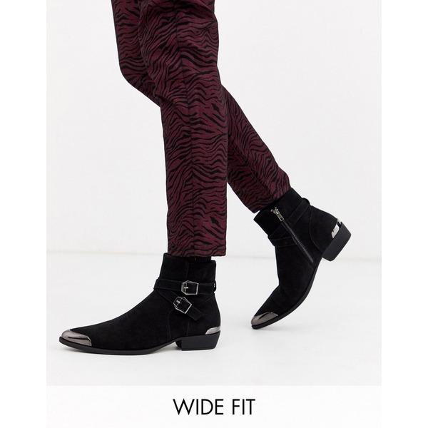 エイソス メンズ ブーツ&レインブーツ シューズ ASOS DESIGN Wide Fit stacked heel western chelsea boots in faux black suede with buckle detail Black