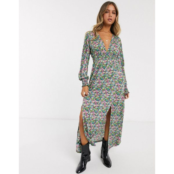 エイソス レディース ワンピース トップス ASOS DESIGN maxi dress with shirred waist in floral print Multi