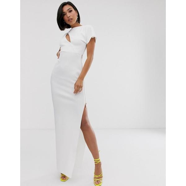 エイソス レディース ワンピース トップス ASOS DESIGN cut out maxi dress with metal zip Ivory