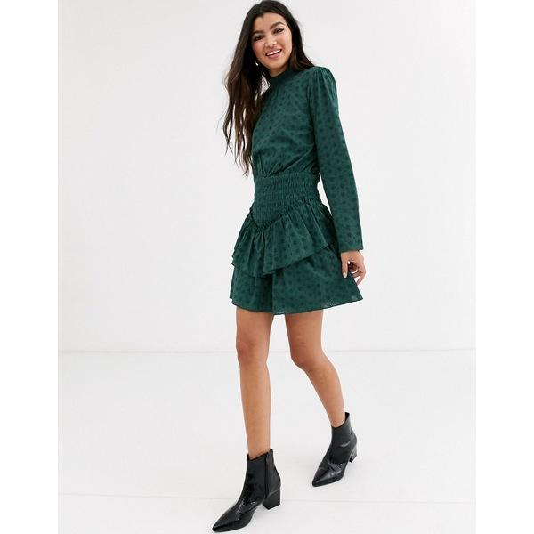 エイソス レディース ワンピース トップス ASOS DESIGN broderie high neck shirred waist mini dress Forest green