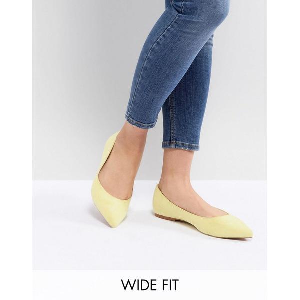 エイソス レディース サンダル シューズ ASOS DESIGN Latch Wide Fit Pointed Ballet Flats Yellow