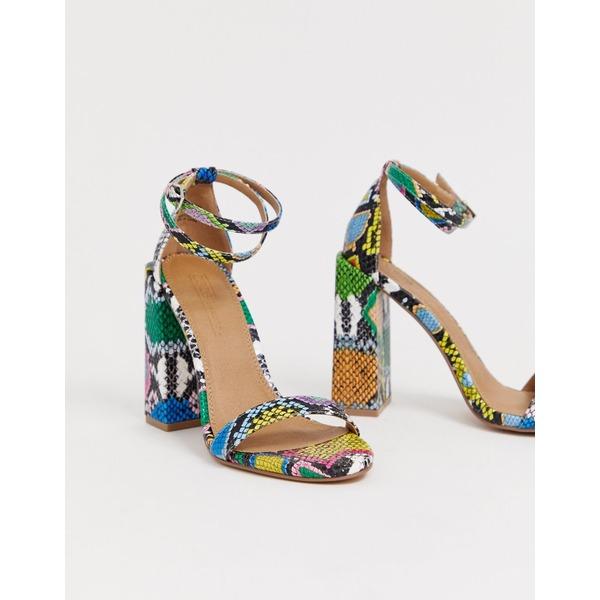エイソス レディース ヒール シューズ ASOS DESIGN Highlight barely there block heeled sandals in snake Snake