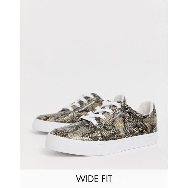 エイソス レディース スニーカー シューズ ASOS DESIGN Wide Fit Value sneakers in snake Snake