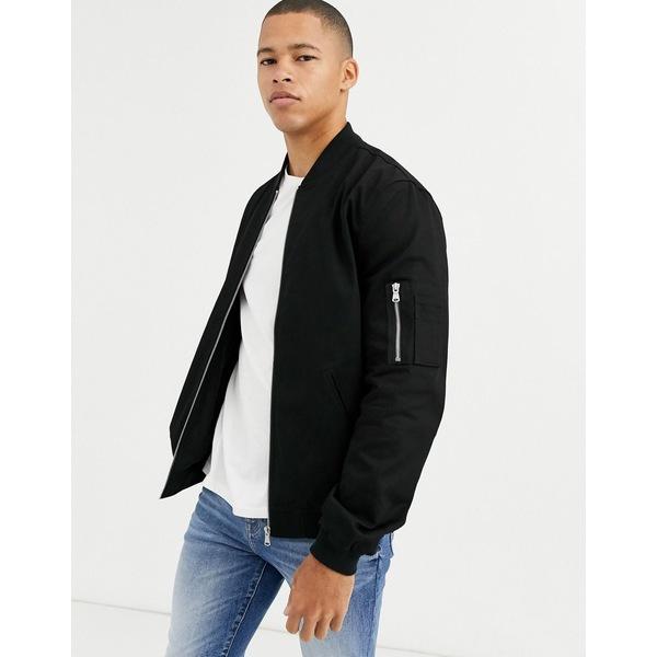 エイソス メンズ ジャケット&ブルゾン アウター ASOS DESIGN ma1 bomber jacket in black Black