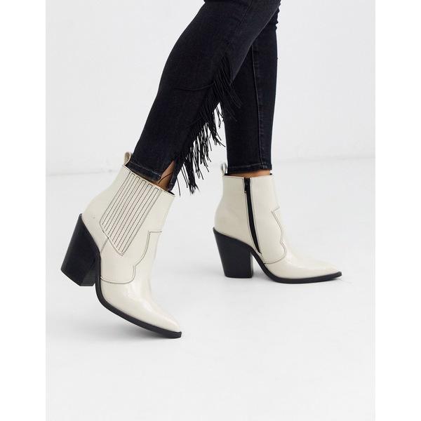エイソス レディース ブーツ&レインブーツ シューズ ASOS DESIGN Elliot western boots in cream Cream