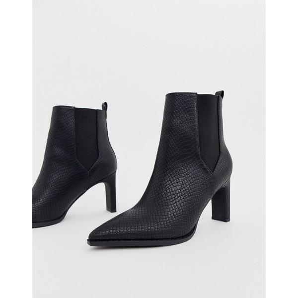 エイソス レディース ブーツ&レインブーツ シューズ ASOS DESIGN Romeo pointed heeled boots in black snake Black snake