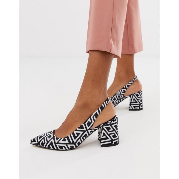 エイソス レディース ヒール シューズ ASOS DESIGN Samson slingback mid heels Multi print