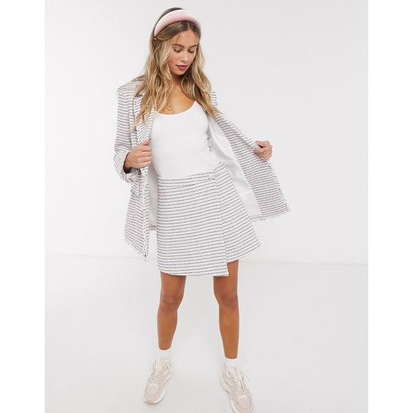 ミスセルフフリッジ レディース スカート ボトムス Miss Selfridge wrap mini skirt with faux pearl buttons in pink Pink
