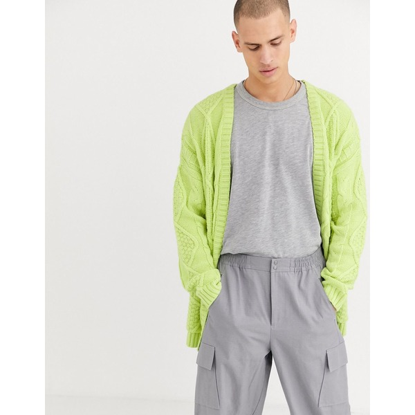 エイソス メンズ カーディガン アウター ASOS DESIGN heavyweight cable knit cardigan in light green Green