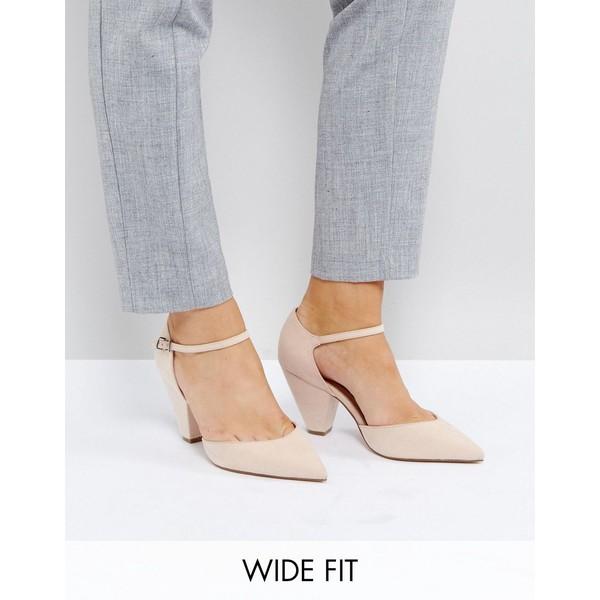 エイソス レディース ヒール シューズ ASOS DESIGN Wide Fit Speaker pointed heels Pale beige