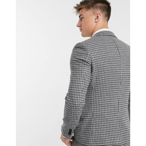 ジアーフラウド メンズ ジャケット&ブルゾン アウター Gianni Feraud Slim Fit Wool Blend Small Check Suit Jacket Gray