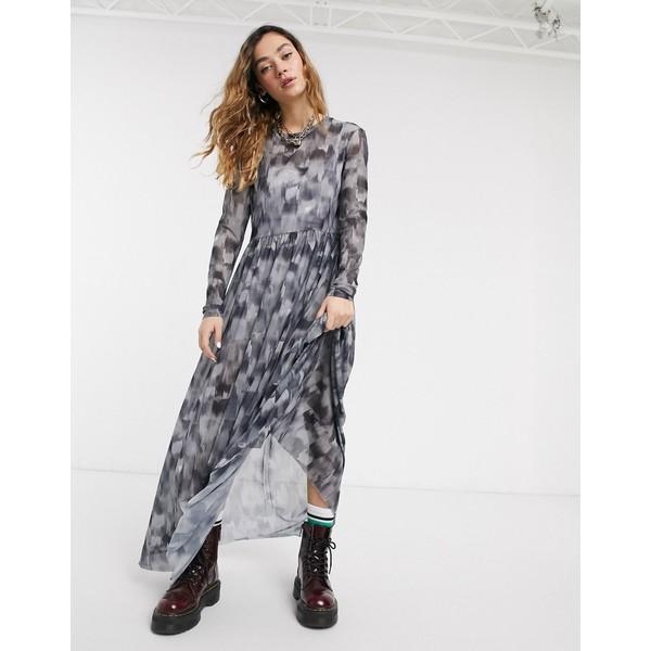 ノイジーメイ レディース ワンピース トップス Noisy May mesh maxi dress in black smudge print Black aop