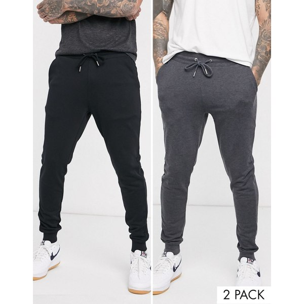 エイソス メンズ カジュアルパンツ ボトムス ASOS DESIGN organic skinny sweatpants 2 pack in black/charcoal Black/charcoal