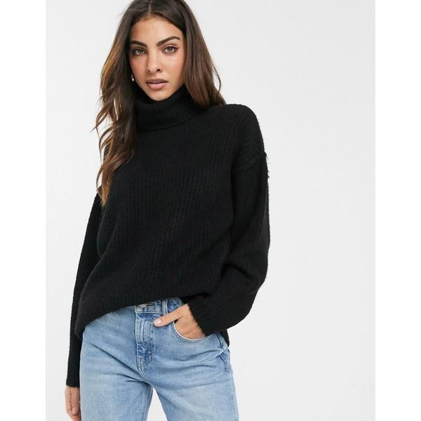 エイソス レディース ニット&セーター アウター ASOS DESIGN fluffy sweater with cowl neck Black