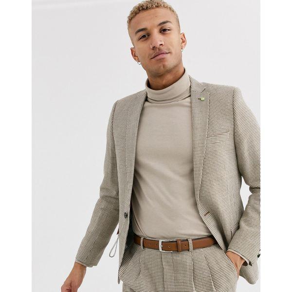ツイステッドテイラー メンズ ジャケット&ブルゾン アウター Twisted Tailor super skinny fit suit jacket in brown dogstooth Tan