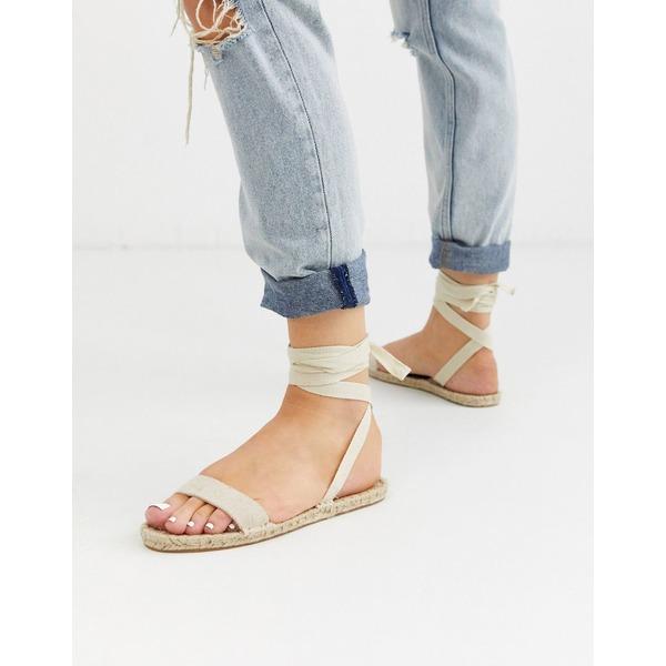 エイソス レディース サンダル シューズ ASOS DESIGN Juniper espadrille flat sandals in natural Natural fabrication