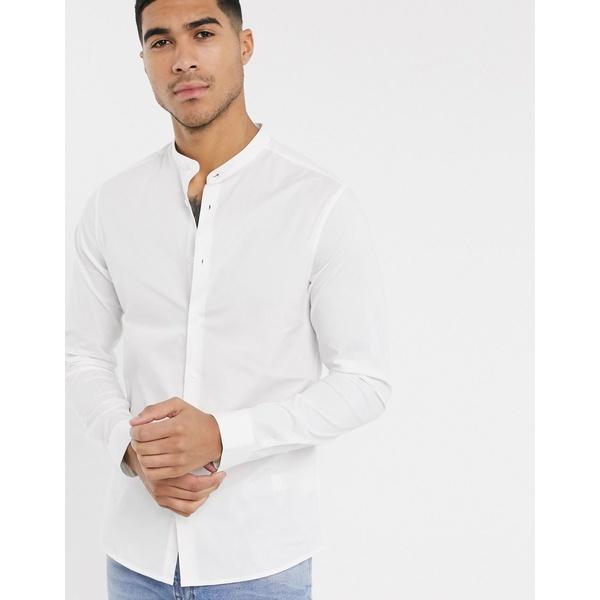 エイソス メンズ シャツ トップス ASOS DESIGN stretch skinny shirt in white with grandad collar White