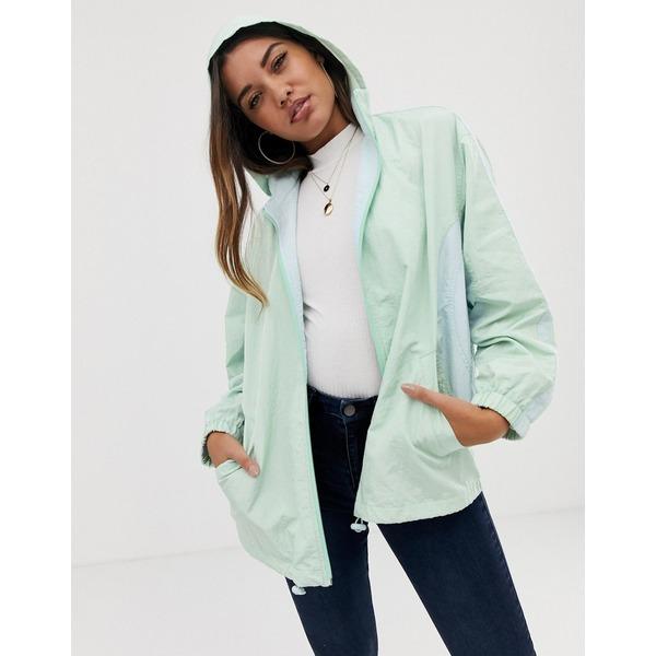 エイソス レディース ジャケット&ブルゾン アウター ASOS DESIGN color block zip through anorak jacket Mint