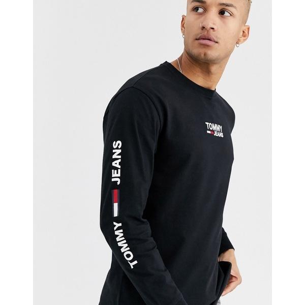 トミーヒルフィガー メンズ Tシャツ トップス Tommy Jeans corp long sleeve tee in black Tommy black