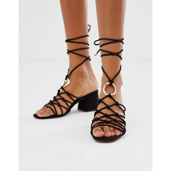 エイソス レディース サンダル シューズ ASOS DESIGN Harvey knotted ring detail block heeled sandals Black
