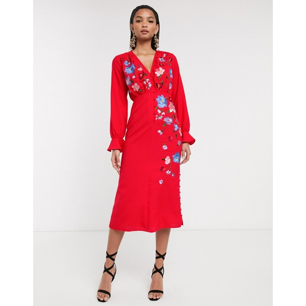 エイソス レディース ワンピース トップス ASOS DESIGN embroidered button front midi tea dress with fluted sleeve Red