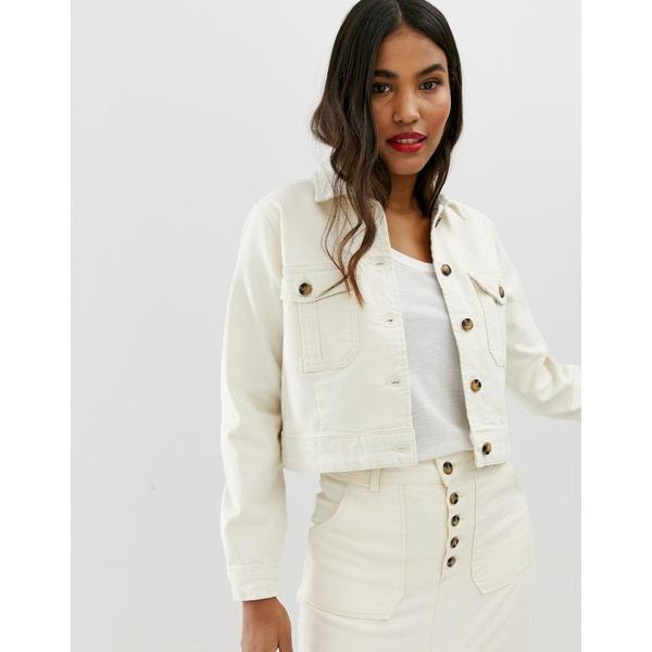 エイソス レディース ジャケット&ブルゾン アウター ASOS DESIGN DENIM Premium utility jacket in off-white White