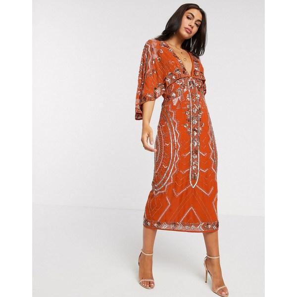 エイソス レディース ワンピース トップス ASOS DESIGN midi dress with kimono sleeve and embellished cape Rust