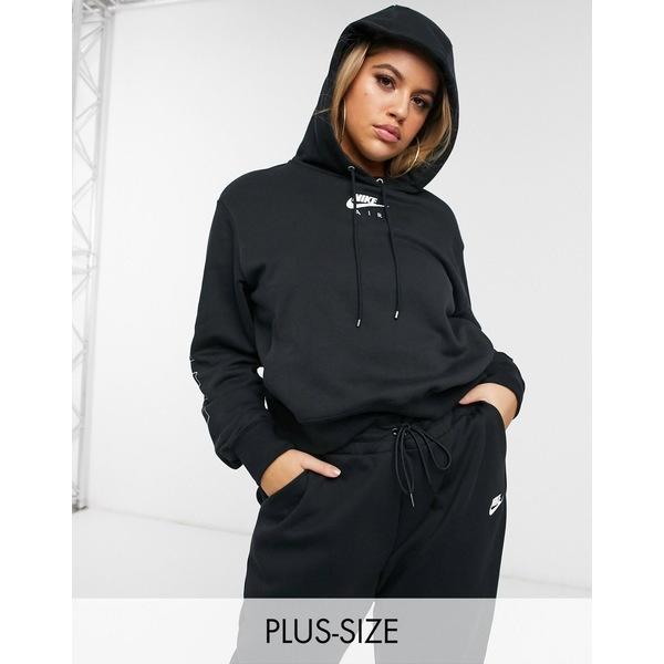 ナイキ レディース パーカー・スウェットシャツ アウター Nike Plus air logo sleeve hoodie in black Black