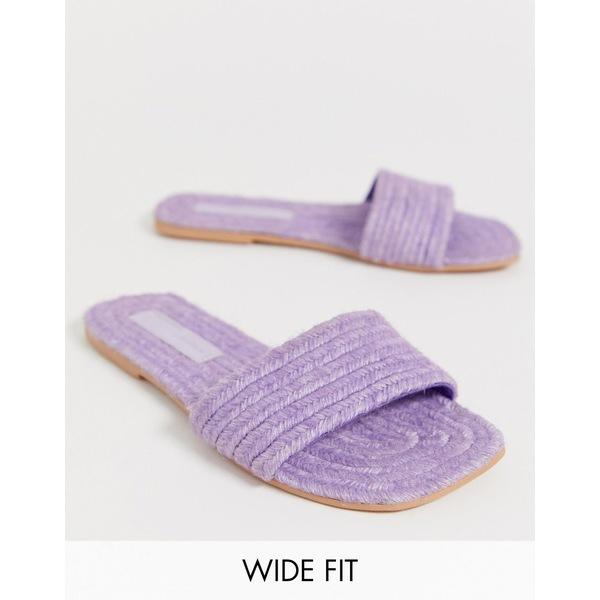 エイソス レディース サンダル シューズ ASOS DESIGN Wide Fit Jayme espadrille sandals Lilac