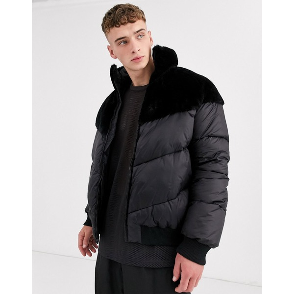 エイソス メンズ ジャケット&ブルゾン アウター ASOS DESIGN puffer jacket with faux fur panel in black Black