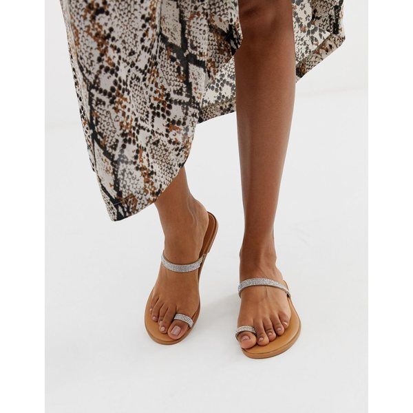 エイソス レディース サンダル シューズ ASOS DESIGN Fairness embellished toe loop flat sandals Warm beige